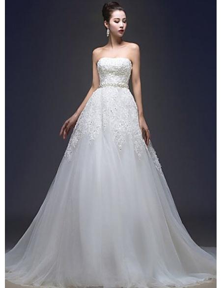 Vestito da Sposa Elegante Economico Principesco Aline con scollo dritto in pizzo e organza