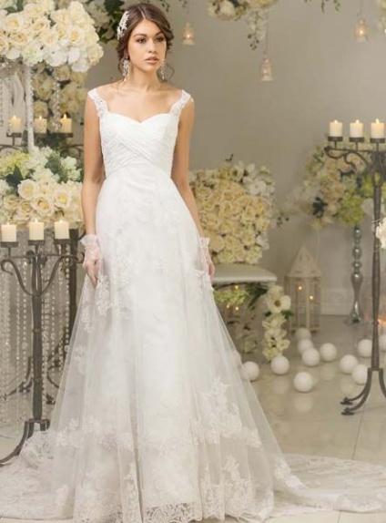 Vestito da Sposa Online Economico Semplice con spalline e pizzo