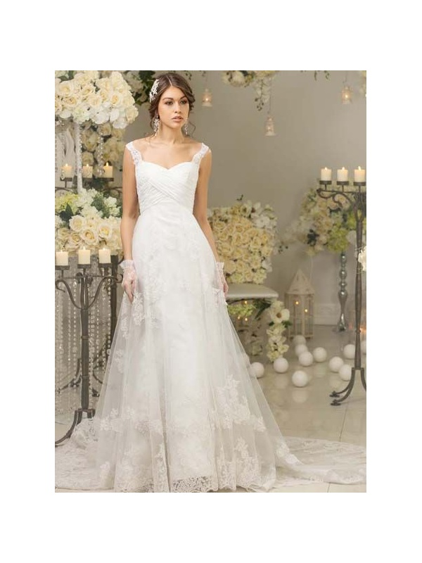 A Line Sweetheart Chapel Train Lace Tulle Wedding Dress