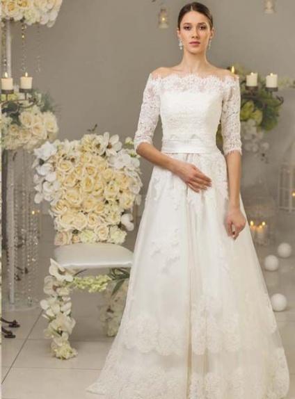 5bc1ef571088 Vestiti Eleganti Con Scollo A Barca ~ Vestito da sposa elegante con  scollatura a barca e