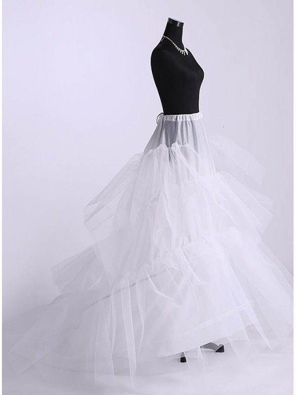 Tulle ball gown slip full gown slip chapel train 3 tiers for Tulle petticoat for wedding dress