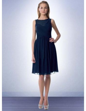 Bridesmaid A-line Knee length Chiffon Low round/Scooped neck Wedding party dress