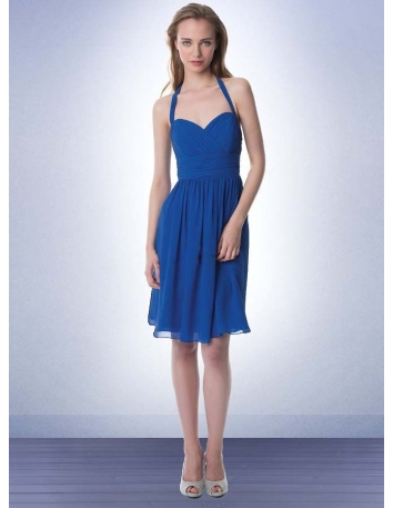 Bridesmaid A-line Knee length Chiffon Halter Wedding party dress