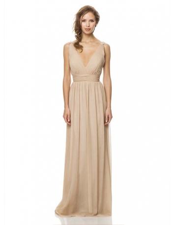 Bridesmaid Sheath/Column Floor length Chiffon V-neck Wedding party dress