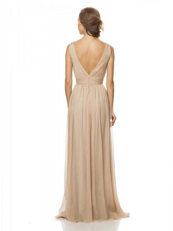 Bridesmaid Sheath Column Floor Length Chiffon V Neck Wedding Party Dress