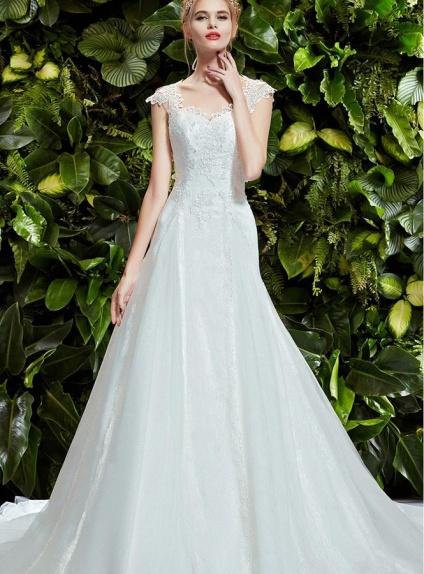 comprando ora molti alla moda come serch Abito da Sposa semplice ed elegante in pizzo con spalline larghe di pizzo