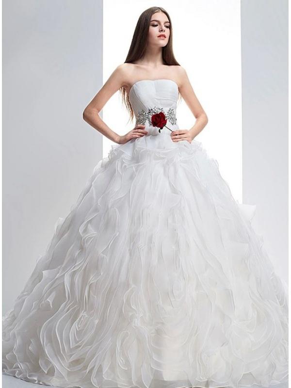 416e646e139e Abito da Sposa Vaporoso con cintura di strass e paillettes e corpetto rigido  ...
