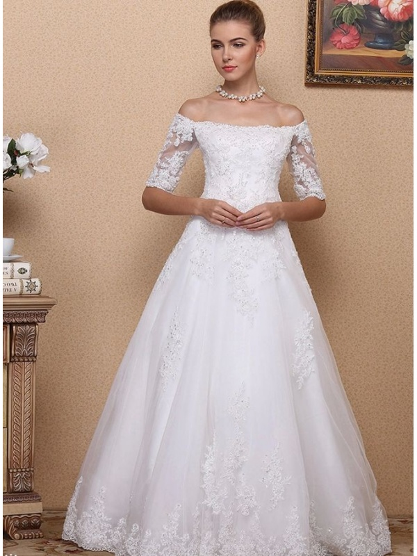 A Line Ball Gown Floor Length Lace Tulle Off The Shoulder