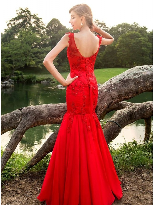 43983ca7e51a Abito da Sposa colorato a sirena in pizzo rosso disponibile in altri ...