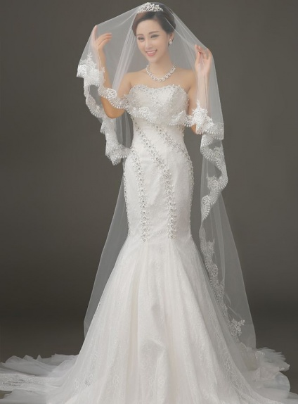 One layers Cathedral Wedding veil