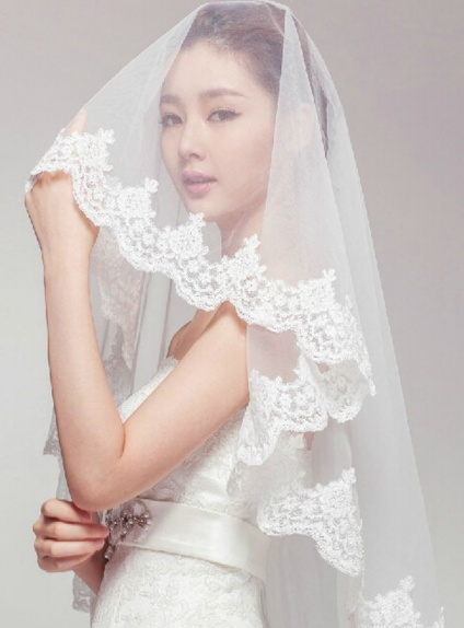 One layers Fingertip Wedding veil