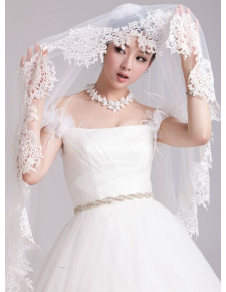 One layers Fingertip Wedding veil