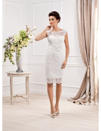 Short Sheath Knee length Lace Low round/Scooped neck Wedding dress