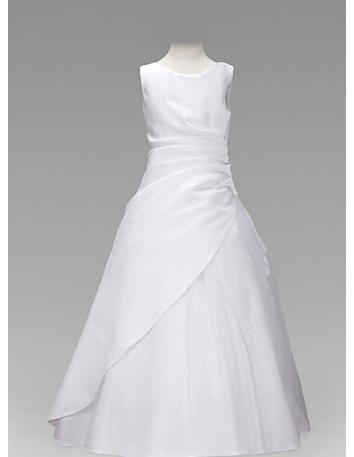 Flower girl A-line Floor length Taffeta Low round/Scooped neck Wedding party dress
