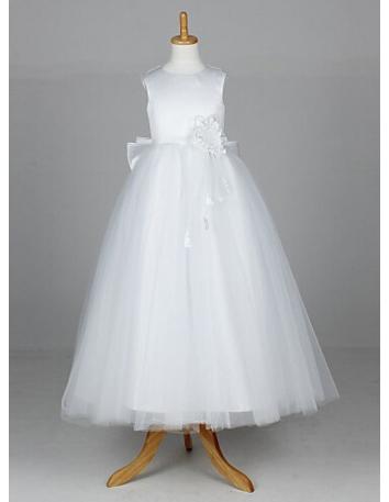 Flower girl A-line Floor length Tulle High round/Slash neck Wedding party dress