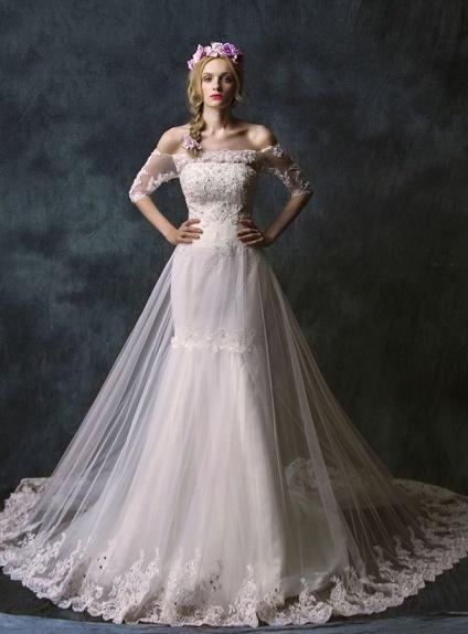 Vestiti da Sposa a Sirena con doppia gonna in tulle ampia con merletto ...