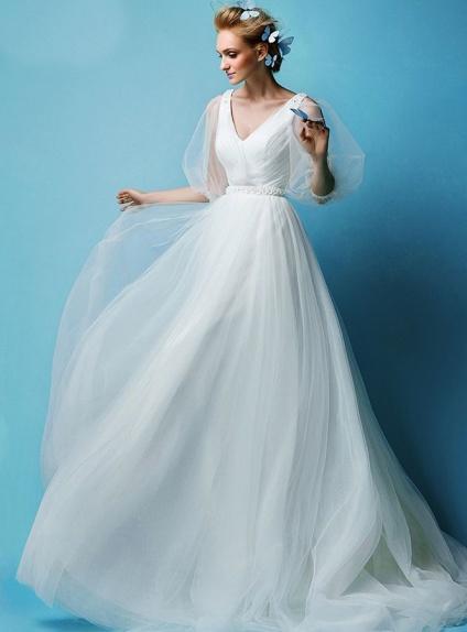 Vestiti Da Sposa Vintage.Abito Da Sposa Vintage Economico Online Con Maniche Di Tulle E