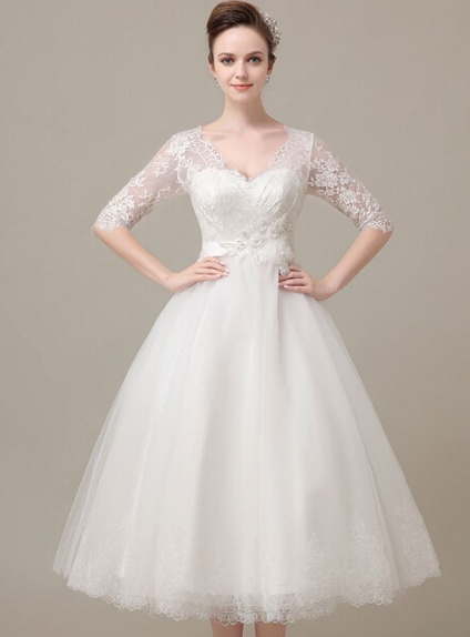 A line sweetheart ankle length tulle lace wedding dress for Wedding dresses ankle length