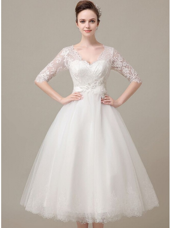 A Line Sweetheart Ankle Length Tulle Lace Wedding Dress