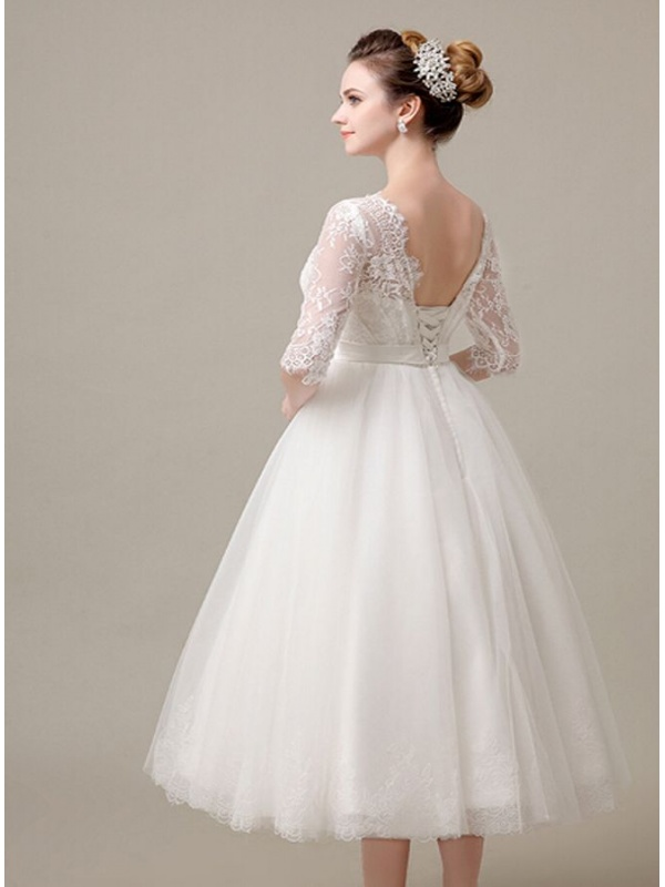 Ankle Length Lace Wedding Dress