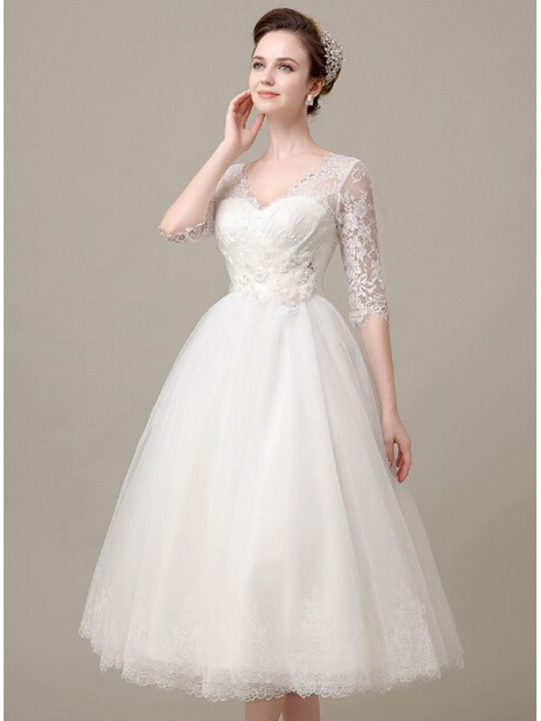 A line sweetheart ankle length tulle lace wedding dress for Lace ankle length wedding dress