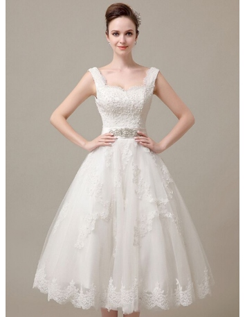 A-line Sweetheart Ankle length Tulle Wedding dress