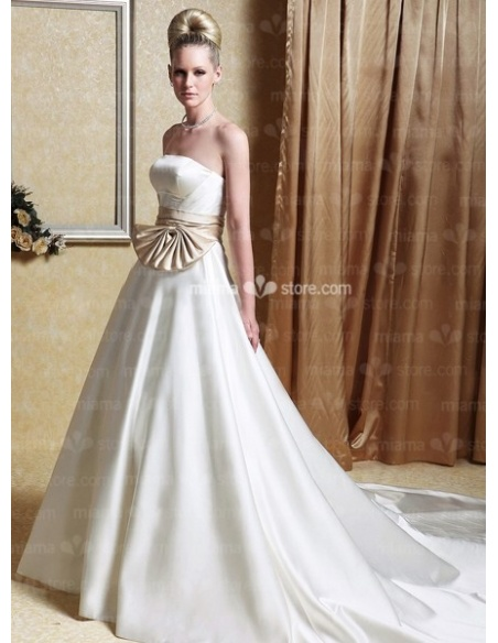 STACEY - A-Line Strapless Chapel train Satin Wedding dress