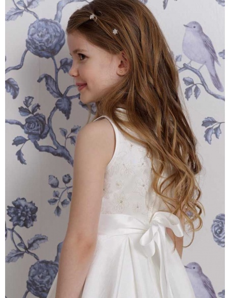 Flower girl Ankle length Taffeta High round/Slash neck Wedding party dress