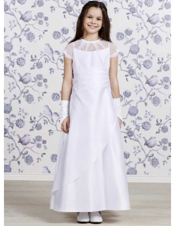 Flower girl Tea length Satin High round/Slash neck Wedding party dress