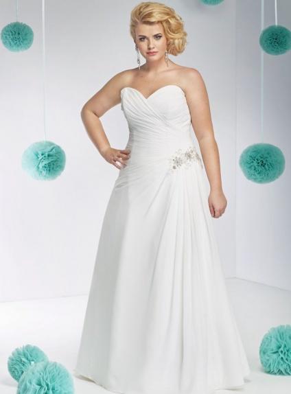 A-line Sweetheart Floor length Chiffon Wedding dress
