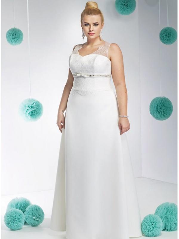 c52ffdc06f57 Abito da Sposa Semplice online con gonna in raso e corpetto ricamato  Elegante ...