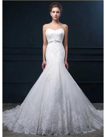 Vestito da Sposa a Sirena economico online con scollo a Cuore con applicazioni di Pizzo e cintura