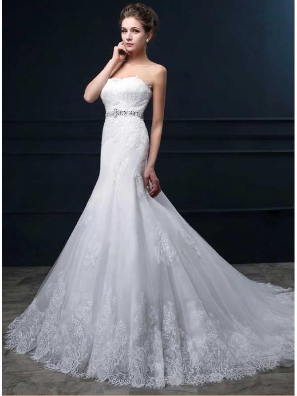 Vestito da Sposa a Sirena economico online con scollo a Cuore con ...