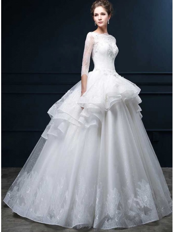 Abito da sposa online accollato con maniche 3 4 in pizzo e for Wedding dress shops in ma