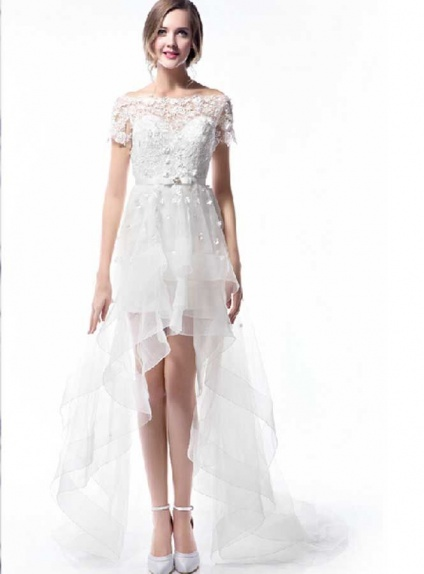 A-line Short Asymmetrical Lace Tulle Off the shoulder Wedding dress