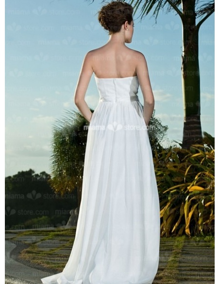 SYLVIA - A-Line Strapless Cheap Floor length Chiffon Wedding dress