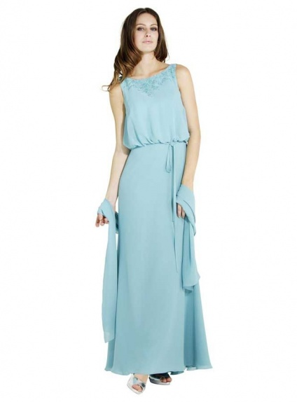 Bridesmaid Floor length Chiffon Low round/Scooped neck Wedding party dress