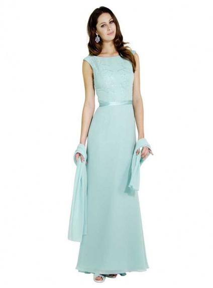 official photos 039c6 02484 Vestito da Cerimonia Elegante in Chiffon lungo morbido con Ricami sul  corpetto