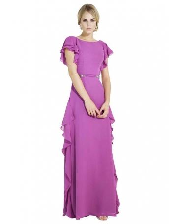 Vestito da cerimonia Elegante Economico online in Chiffon con manica corta e volant