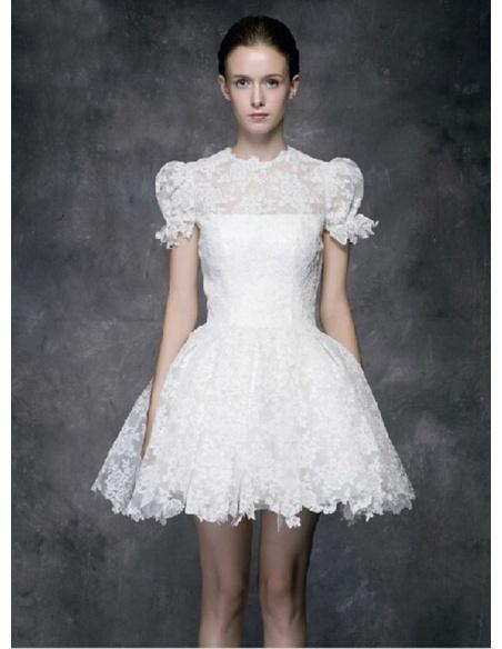 A-line Short Lace High round/Slash neck Wedding dress