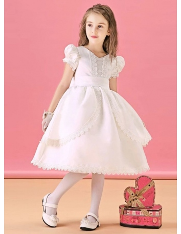 Flower girl A-line Knee length Satin Lace V-neck Wedding party dress