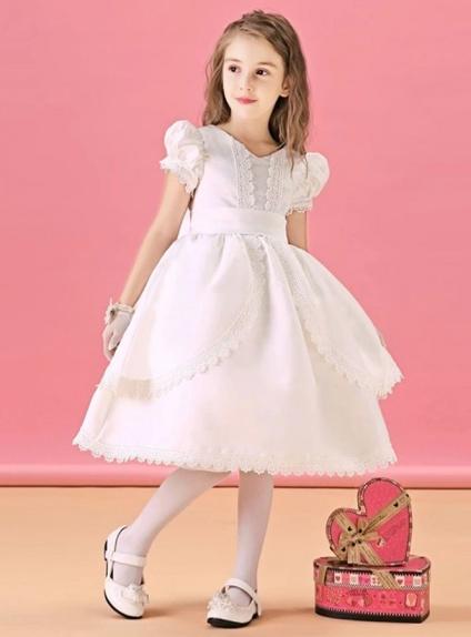 low priced 0ab7b 188b9 Vestito da Cerimonia Bambina corto di raso con merletto e maniche a  palloncino