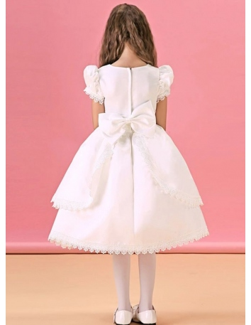 da7e39864a4a ... Vestito da Cerimonia Bambina corto di raso con merletto e maniche a  palloncino 2
