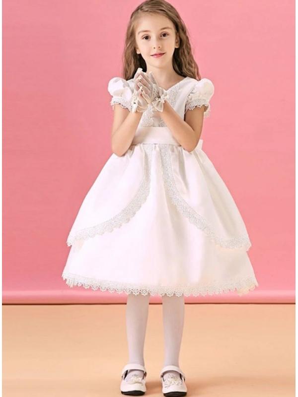 Vestito da Cerimonia Bambina corto di raso con merletto e maniche a  palloncino b794e12efec