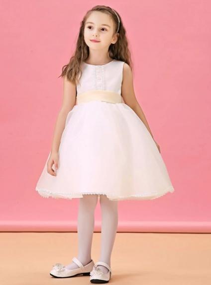 04e47287b1c3 Abito da Cerimonia per Bambina semplice in organza con cintura colorata in  vita ...