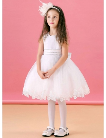 Flower girl A-line Knee length Satin Lace Organza Low round/Scooped neck Wedding party dress