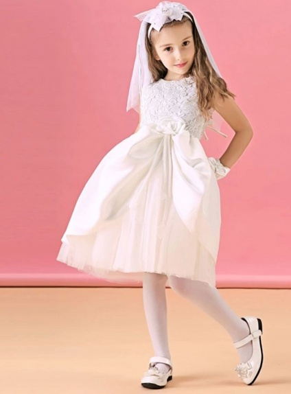 14b3c69ea ALine Round Neck Pink Tulle Flower Girl Dress with Lace