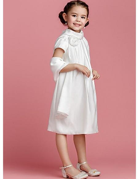 Flower girl Sheath/Column Knee length Taffeta High round/Slash neck Wedding party dress