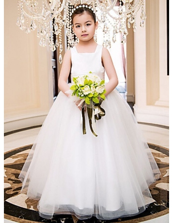 Flower girl A-line Ankle length Tulle Satin Square neck Wedding party dress