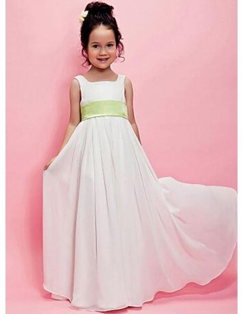 Abito da Cerimonia economico per bambina in Chiffon bianco con cintura colorata in vita